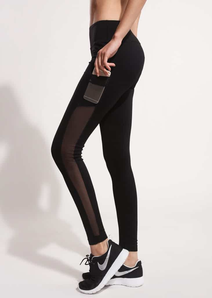 side mesh pocket black active pants 6
