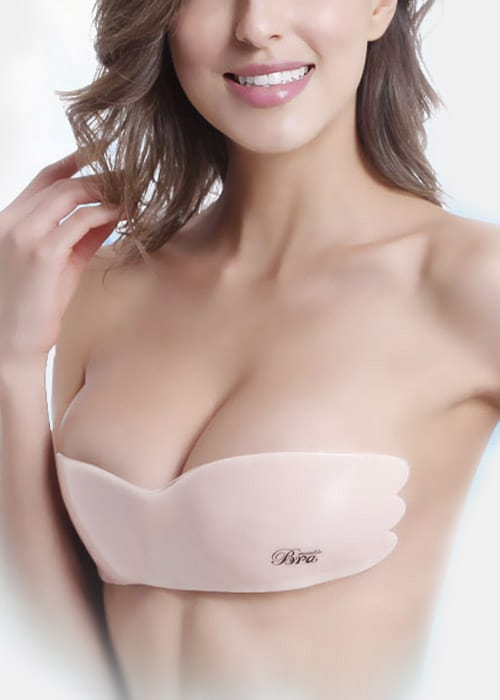 invisible silicon roll over stick on nude bra top