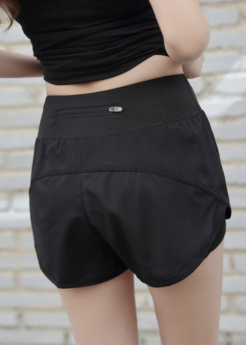 Quick pocket womens sports shorts black back
