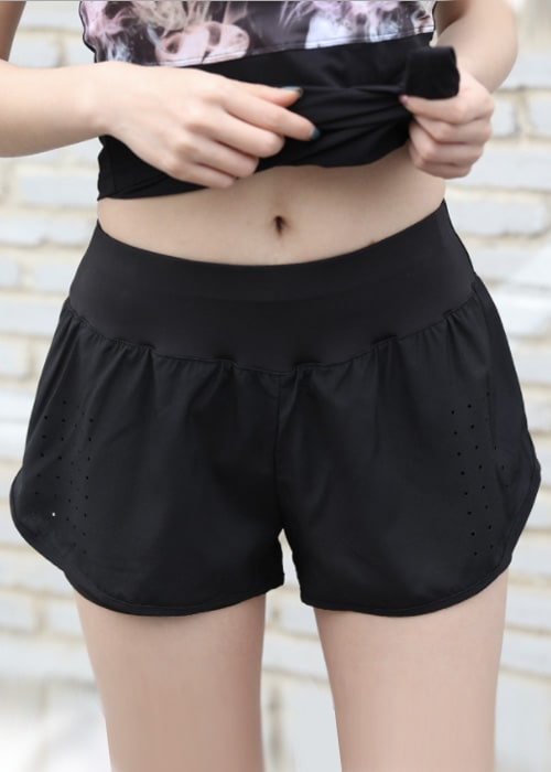 Quick pocket womens sports shorts black front