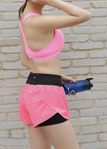 Quick pocket womens sports shorts pink side