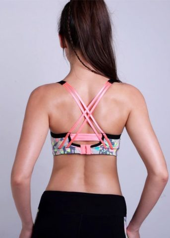 geometry Womens sports bra pink back