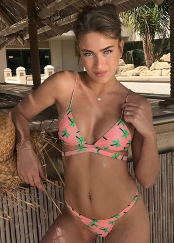 Coconut pinks triangle X bikini front model