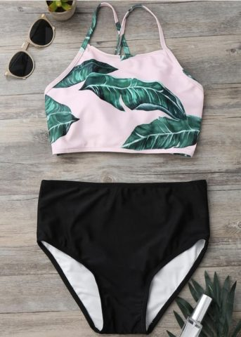 Leaf criss cross back tie 2 piece high waist flatlay 27