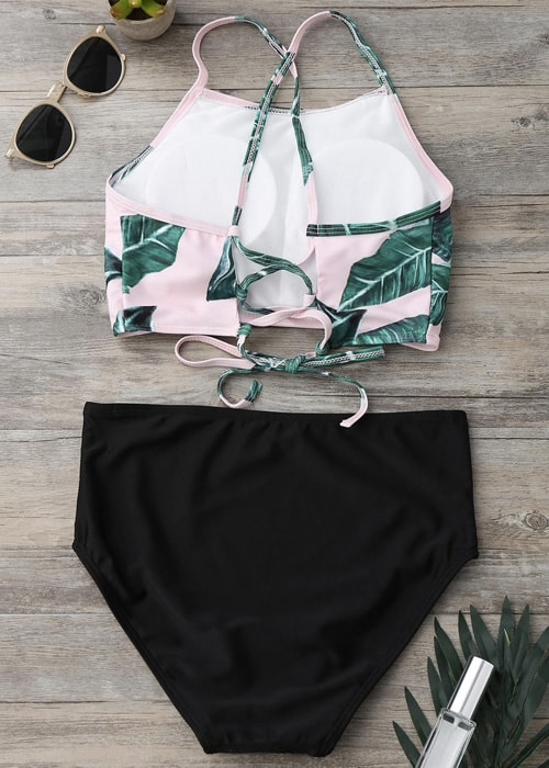 Leaf criss cross back tie 2 piece high waist flatlay back 27