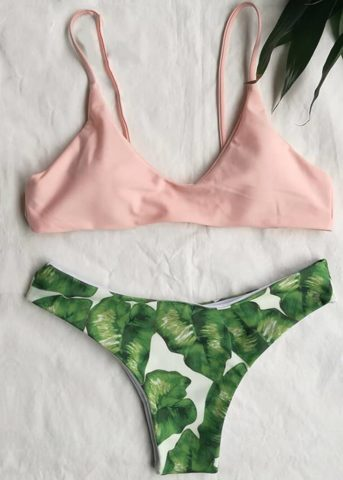 Bralette Leaf print 2 piece pinks