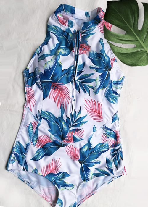Hypegem 5 Willow Leaf Print Zip Up one piece flat lay