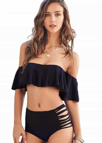 Hypegem off the shoulder ruffles black swimwear