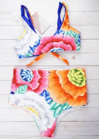 Mystic bold floral print high waist 2 piece(