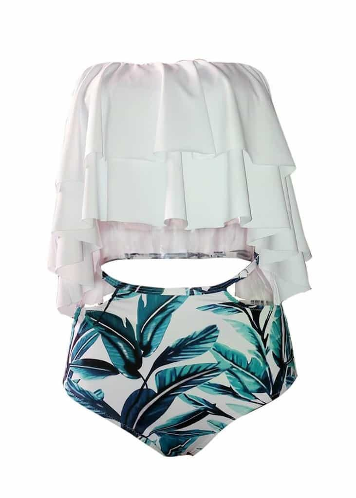 Off shoulder ruffles 2 piece high waist