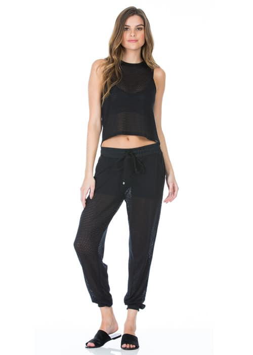 Pounce Perforated Jogger Loose Pants black front full