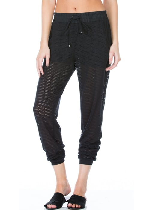 Pounce Perforated Jogger Loose Pants black