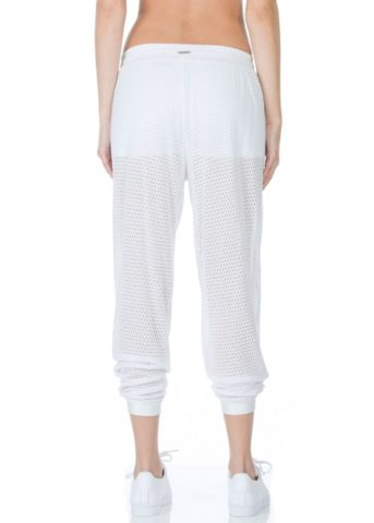 Pounce Perforated Jogger Loose Pants white back