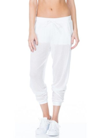 Pounce Perforated Jogger Loose Pants white front