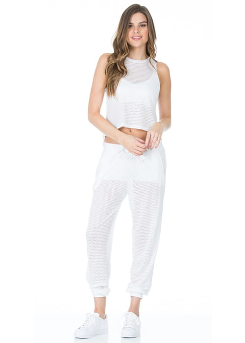 Pounce Perforated Jogger Loose Pants white full front