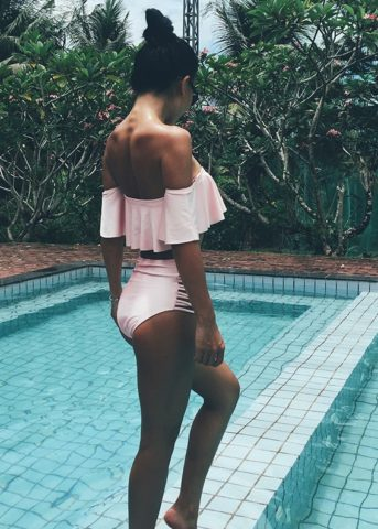 Hypegem ruffles off shoulder swimwear pink