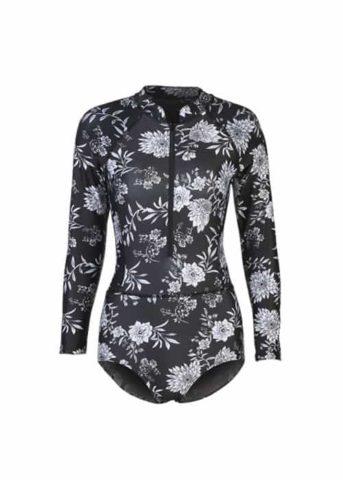 floral black rashguard