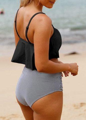 106 Pinstripe Ruffles Bikini1