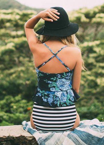 Xerene Floral Bralette Pinstripe 2 piece swimwear 2