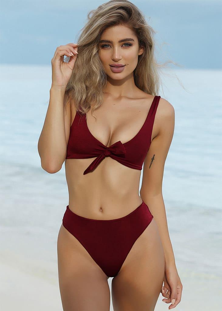 5e9af8d0689 Martha Front Tie Bikini Red - Hypegem