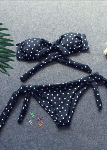 Hypegem Bandeau Polka Bikini Black 3