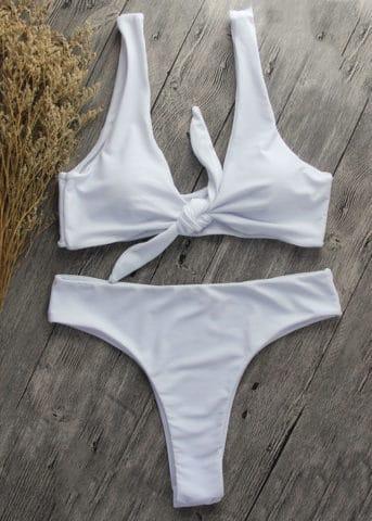 Malta Front tie bikini white 2
